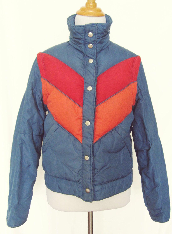 173784d19e 1970s Retro Ski Jacket with Chevron Stripes - Converts to Vest - Size Small