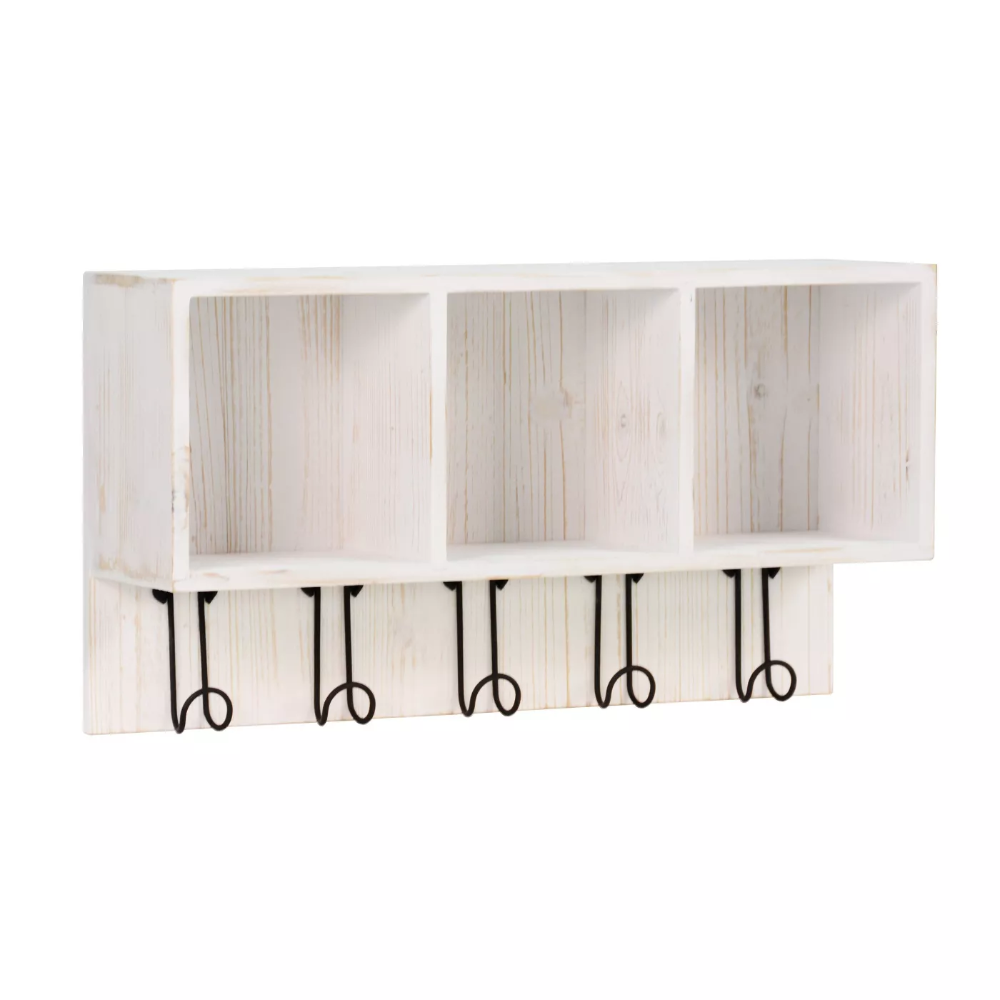 Entryway Large 3 Cubby Box With Hooks White Threshold In 2020 Cubbies Wall Mounted Shelves Wall Cubbies