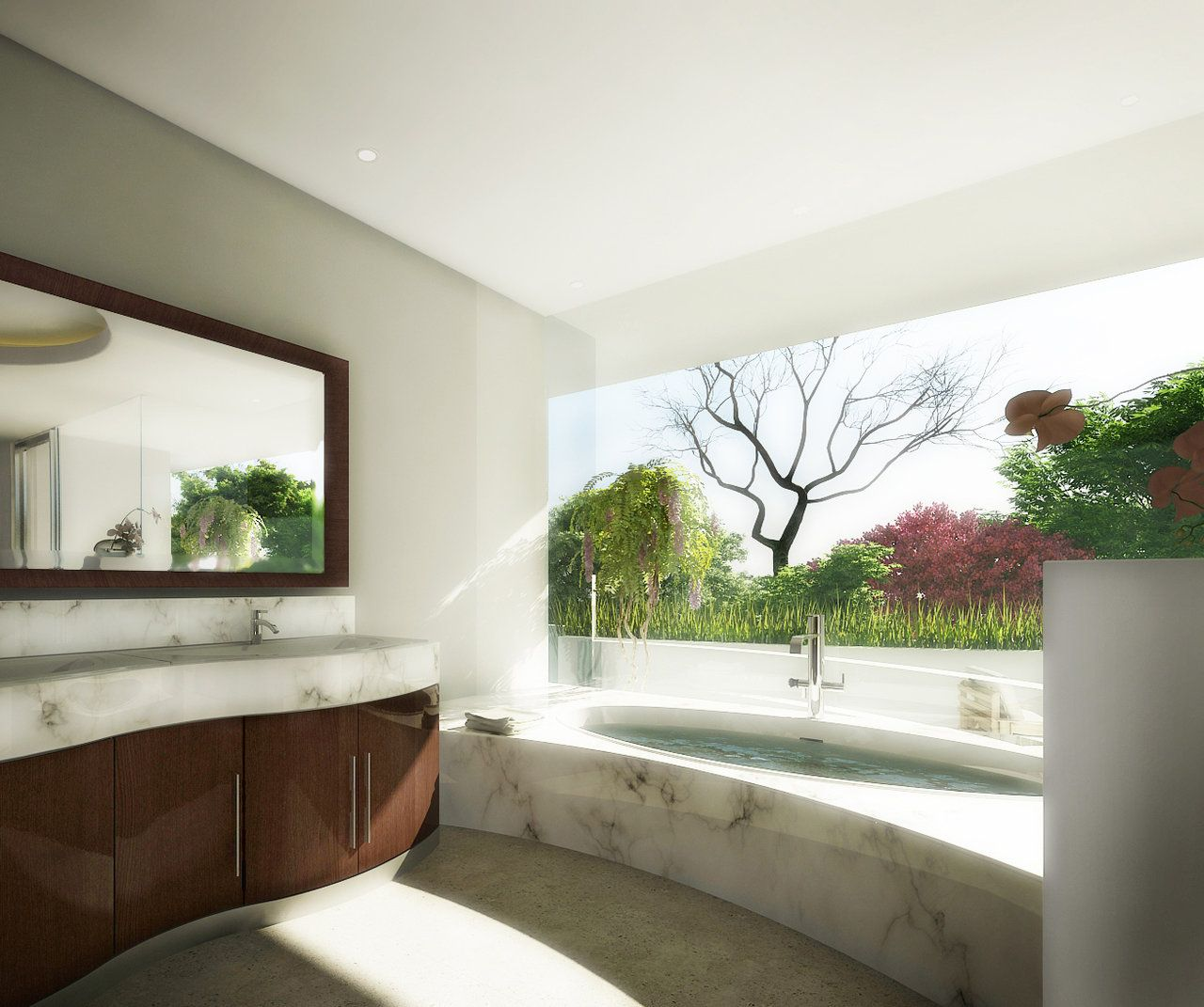 View Bathroom Designs Natural Panoramic View Garden Marble Bathroom  Bathrooms