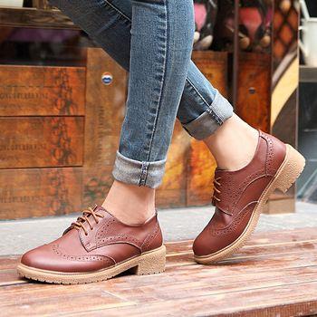 Femme Oxford Mode Chaussures Vintage La Plat Talons Féminine Cuir De OPXuwTZik