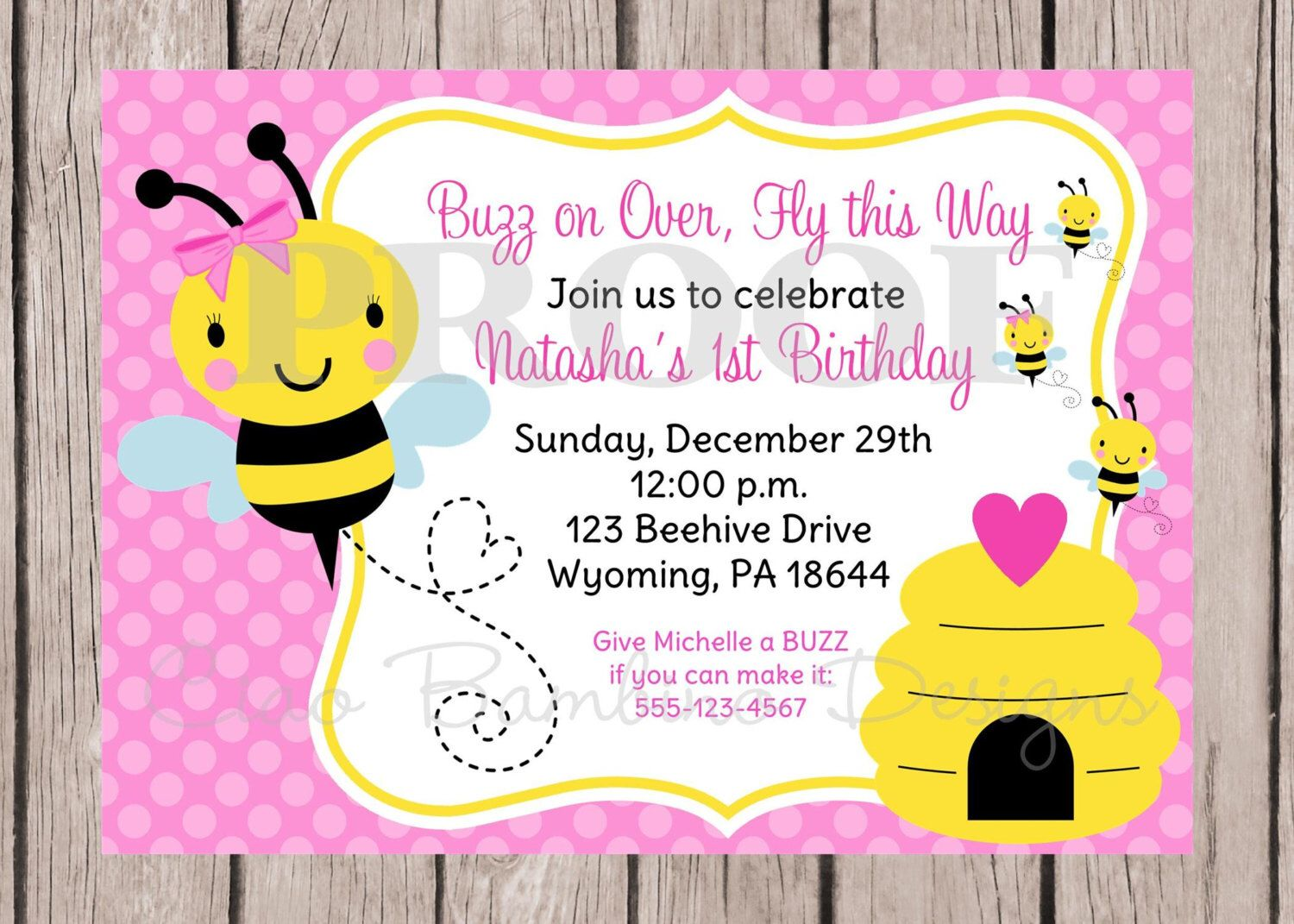 PRINTABLE Pink Bumble Bee Birthday Party or Baby Shower Invitation / Bumble Bee / Pink and Yellow BEEDay Party / You Print by ciaobambino on Etsy https://www.etsy.com/listing/160620568/printable-pink-bumble-bee-birthday-party