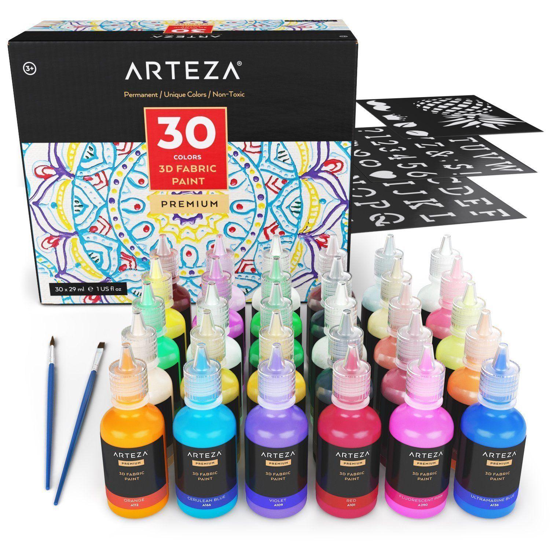 3D Fabric Paint, Fluorescent, Metallic, Glitter & Glow in
