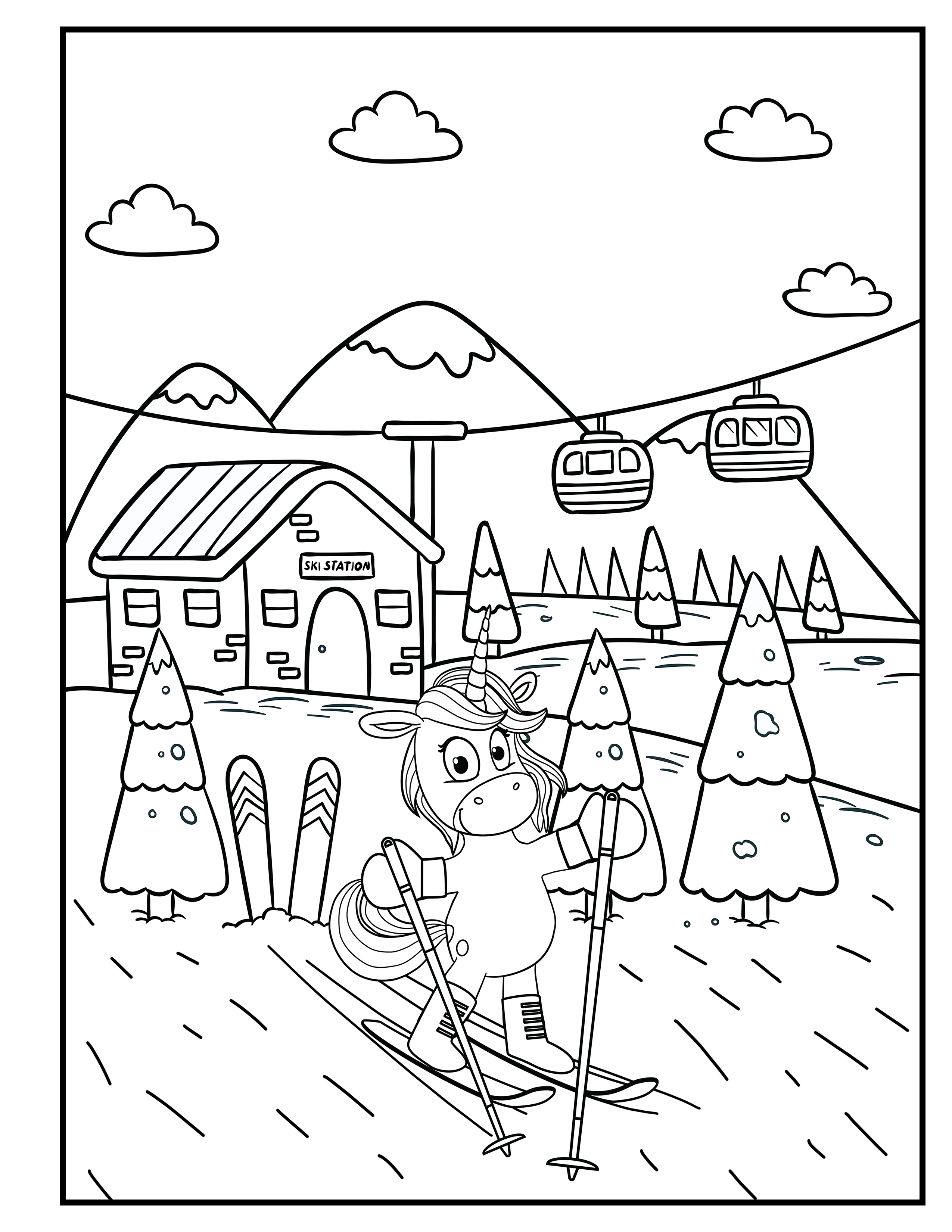 Unicorn In Winter Unicorn On Skis Unicorn Coloring Book For Kids By Katrin Brown Image 25 Coloring Books Book Girl Kids English