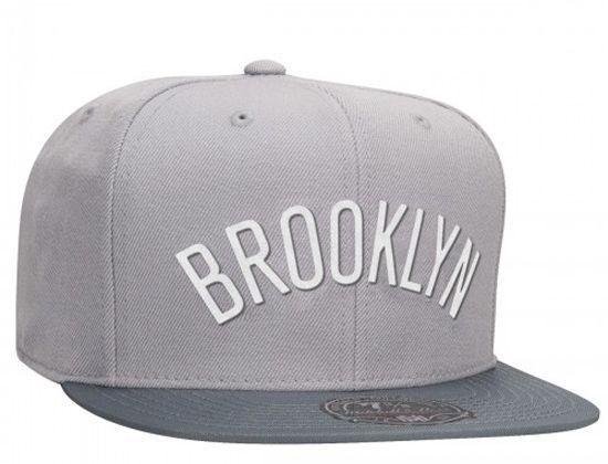ecd5b379 Grey Brooklyn Nets Mega High Crown Fitted Cap by MITCHELL & NESS x NBA