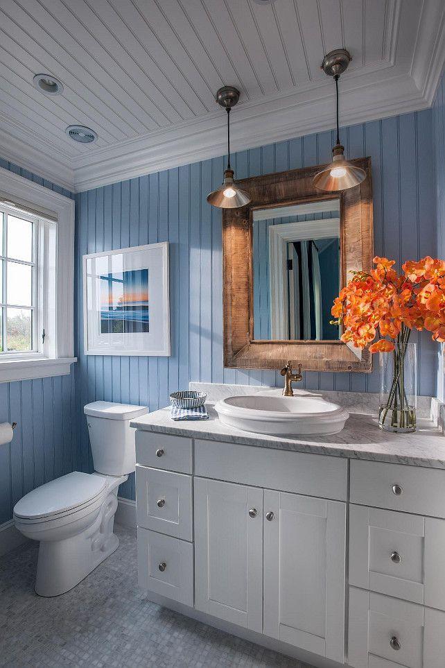 Bathroom Ideas Coastal Bathroom With Blue And White Motif Blue Bead Board Walls Bring New England Ch Bathroom Design Small Beadboard Bathroom House Bathroom