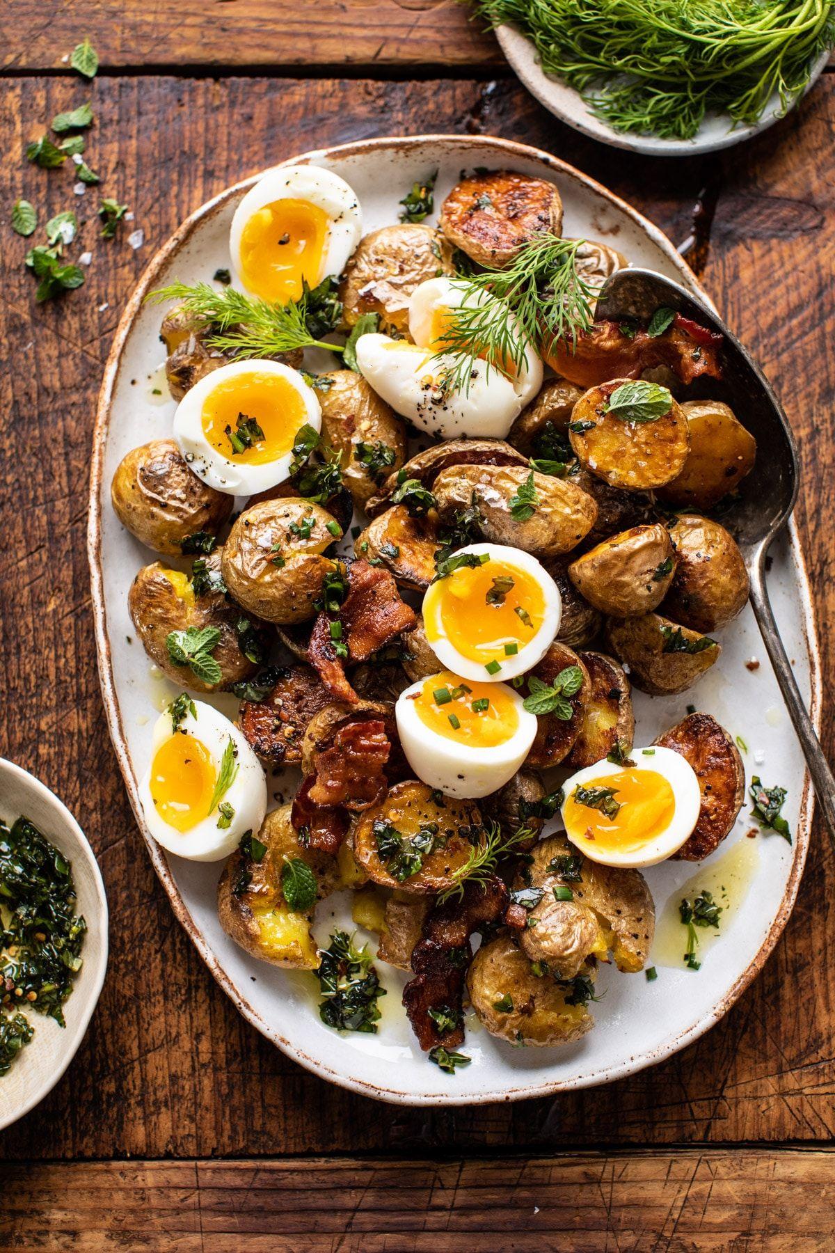 Crispy Breakfast Potatoes With Chili Garlic Oil And Herbs Half Baked Harvest Recipe Crispy Breakfast Potatoes Recipes Brunch Recipes
