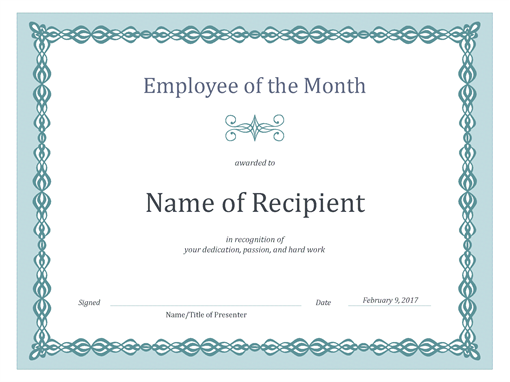 Certificate for Employee of the Month blue chain design Employee