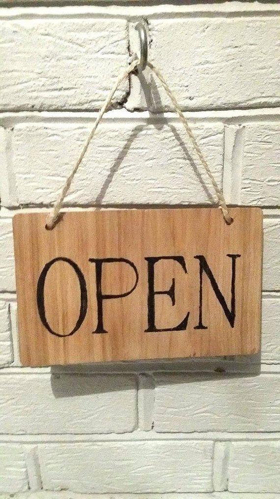 Oak wood Open sign Wooden business sign Open door by MakeMemento ...
