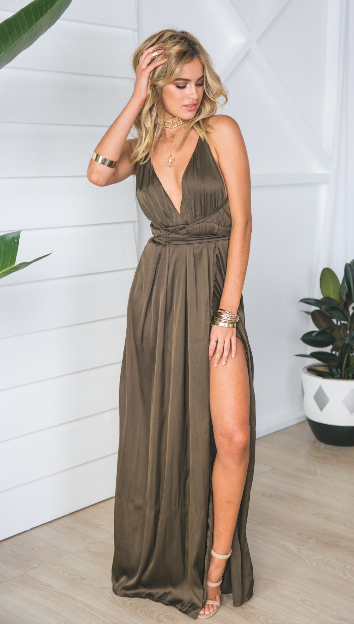 Get closer dress khaki formal pinterest mura boutique