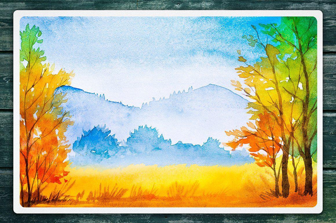 Autumn Watercolor Landscapes Watercolor Art Landscape
