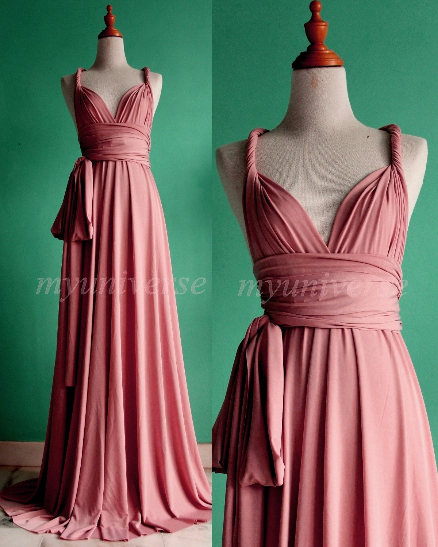 Prom Dress Bridesmaid Dress Dark Pink Maxi Dress Wedding Dress Wrap ...