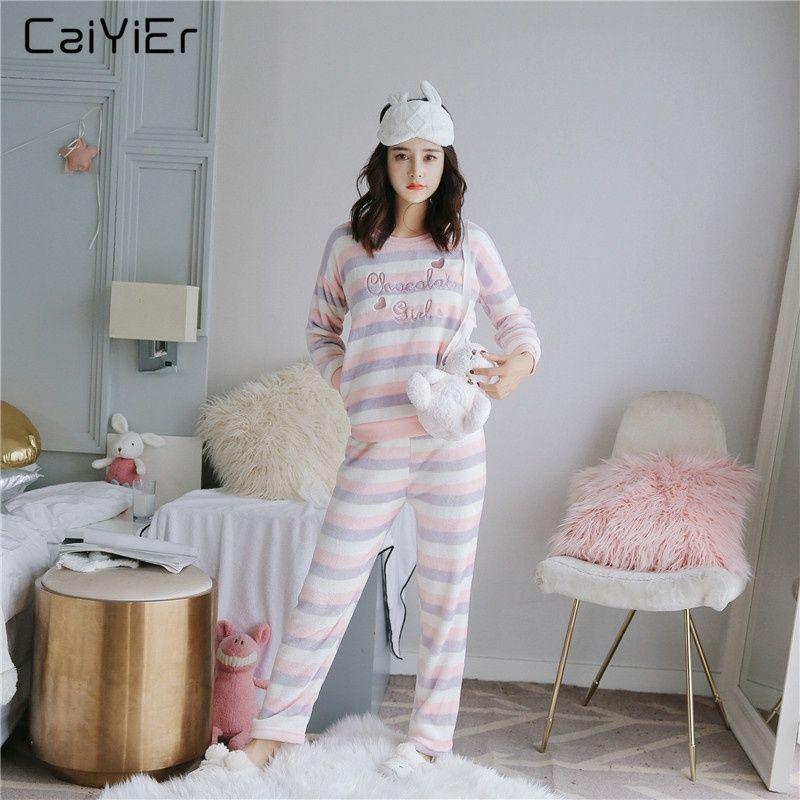 36d84caf5 Caiyier Purple Winter Women Pajama Set Cute Stripe Thick Warm Home Leisure Nightwear  Soft Flannel Female Snow Clothes Sleepwear