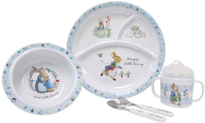 Kids Preferred Peter Rabbit Peter Rabbit 5 Pc Mealtime Set Melamine Dishes Beatrix Potter Baby Dishes