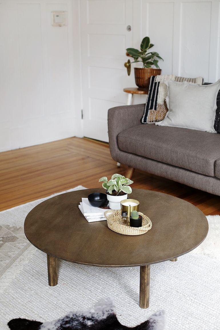 DIY Round Coffee Table   Round coffee table diy, Round coffee table, Decorating coffee tables