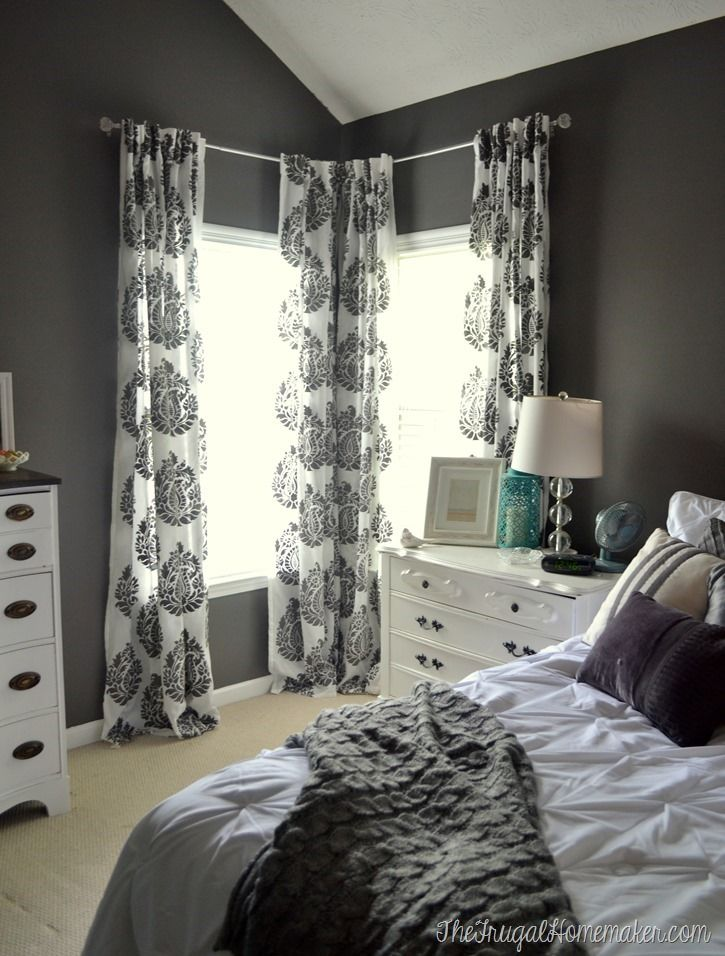 Master bedroom update  DIY stenciled curtain panels  Wall color  Magnet   Behr Marquee. Master bedroom update  DIY stenciled curtain panels  Wall color