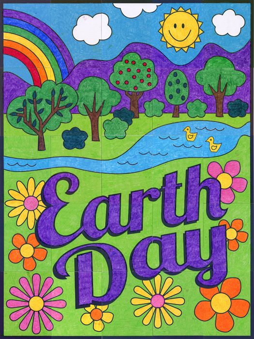 New earth day countryside mural earth chalk pastels for Earthrise mural