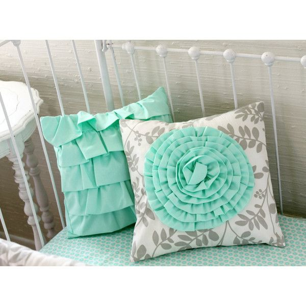 Mint Ruffle Pillow Mint and Gray Nursery Decor Girl's Room Decor Mint... ($36) ❤ liked on Polyvore featuring home, children's room, bedding, home & living and silver
