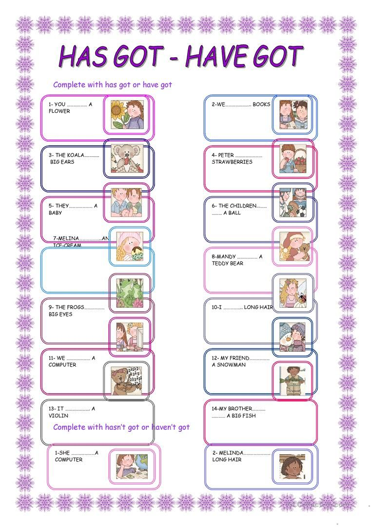 Has Got Have Got With Images Grammar Worksheets Elementary