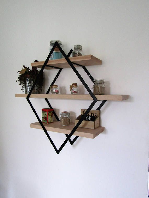 Shelf Style Industrial Diamond Iron And Wood Small Model Com