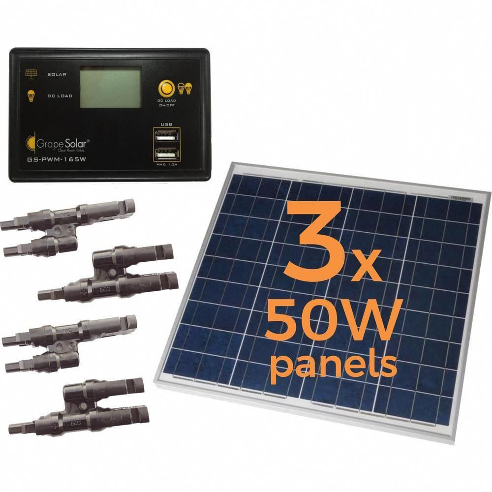 Grape Solar 150 Watt Off Grid Solar Panel Kit Solarpanels Solarenergy Solarpower Solargenerator Solarpanelk In 2020 Solar Energy Panels Solar Heating Solar Panel Kits