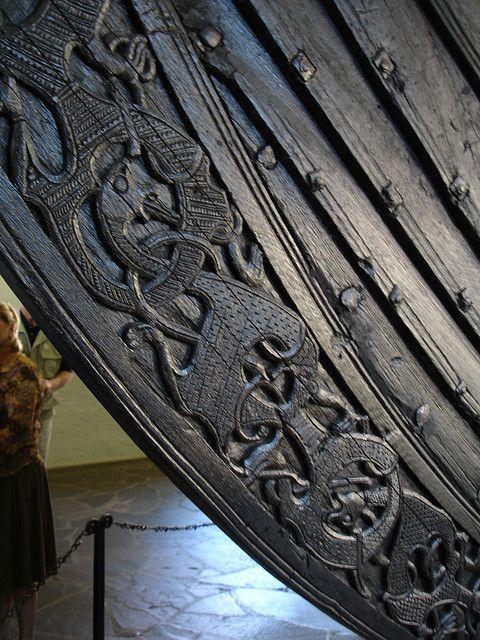 Oslo, Viking ship carving.