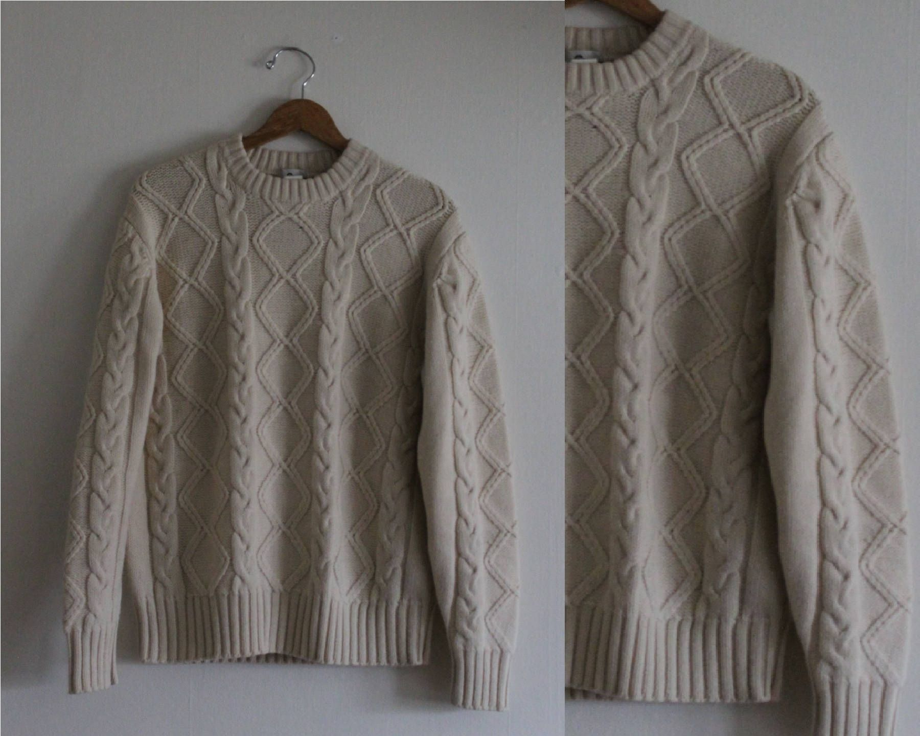Vintage woolrich off white cableknit sweater unisex sz xl made in