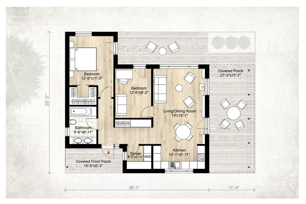 Modern Style House Plan 2 Beds 1 Baths 850 Sq/Ft Plan