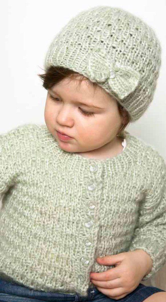 Cream Cardigan & Hat Free Knitting Pattern | Baby girl