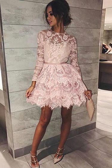 Long Sleeve Pink Above Knee Lace High Neck Homecoming Dress Short Prom Dresses RS764 - Long sleeve homecoming dresses, Lace homecoming dresses, Mini homecoming dresses, Hoco dresses, Homecoming dresses short, High neck homecoming dresses - Long Sleeve Pink Above Knee Lace High Neck Homecoming Dress Short Prom Dresses RS764, SRS, This dress could be custom made, there are no extra cost to do custom size and color