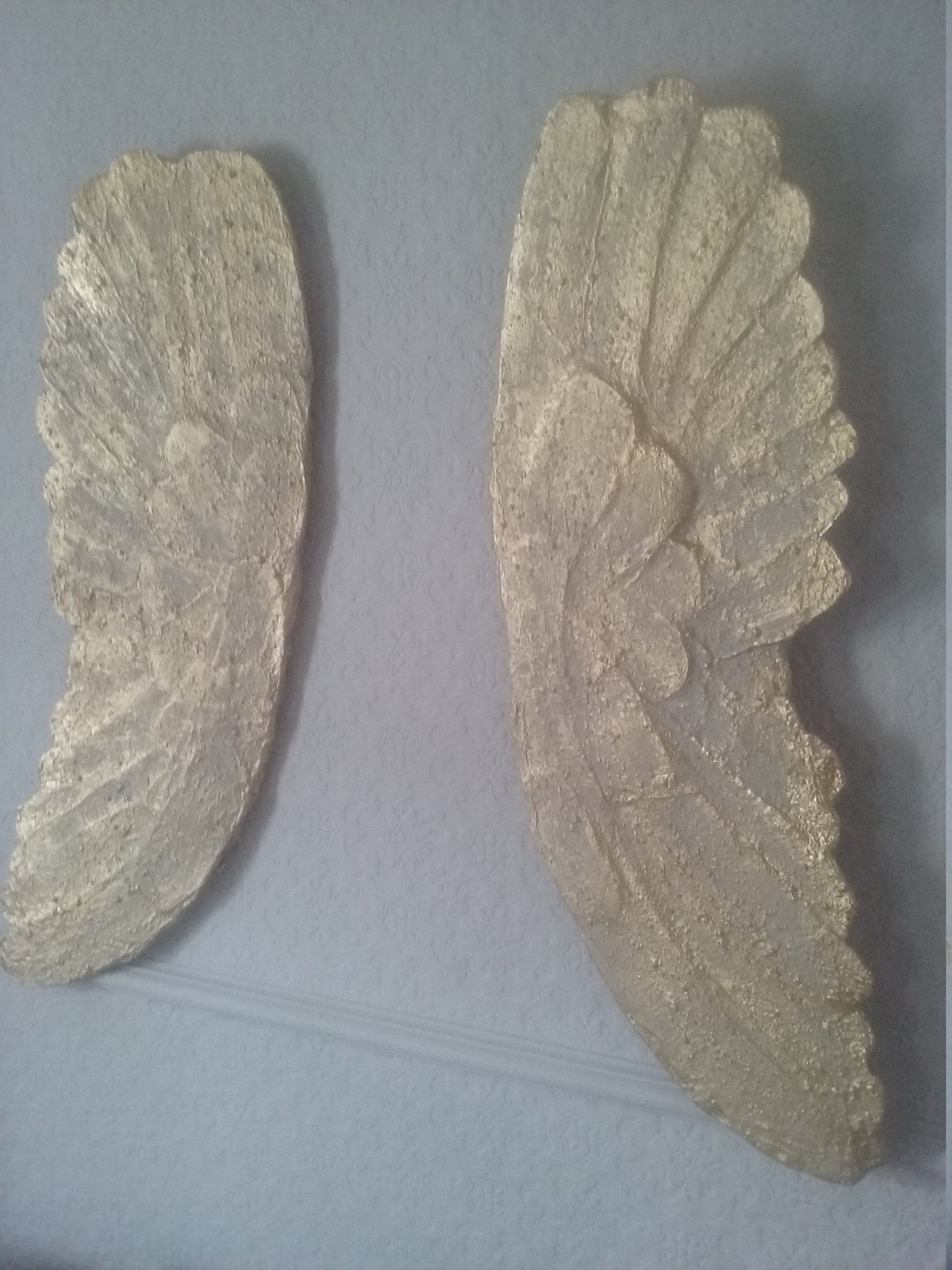 Angel wings wall art large cm textured stone effect pale taupe