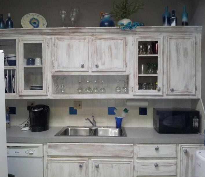 Pin By Daron Grace On My Projects Distressed Kitchen Cabinets White Distressed Cabinets Whitewash Kitchen Cabinets