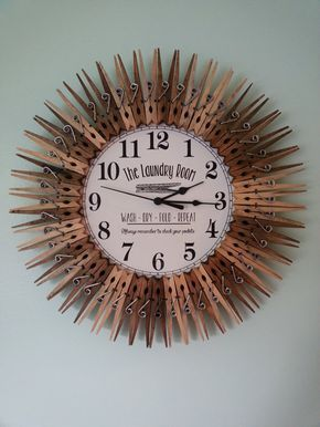Farmhouse Laundry Room Clock  Wall Decor  Wash  Dry  Fold  Repeat  Wood  Check your pockets  Sign  Fun saying  Clothespin  Housewarming gift is part of Clock Wall decor - This gorgeous 14  handcrafted clock is so pretty that you'll almost enjoy hanging out in the laundry room   Please check out the rest of my shop, Items packaged together   free shipping on one of the items