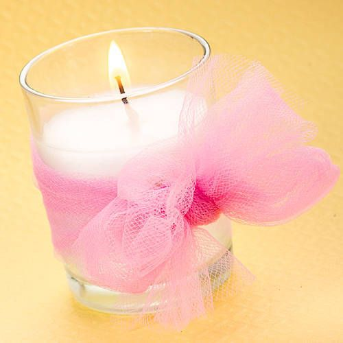"""17/"""" Handmade Girl Baby Shower Centerpiece//Candle Holder In Pink /& White"""