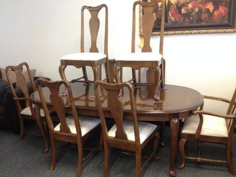 2192  9 Piece Ethan Allen Classic Manor Queen Anne Dining Set Interesting Queen Anne Dining Room Set 2018