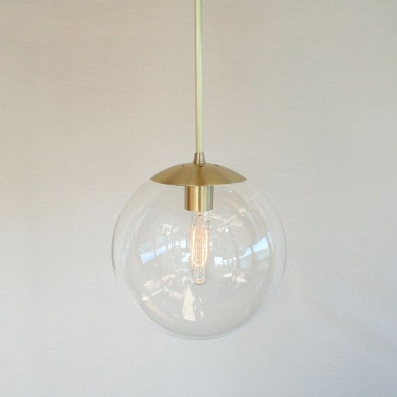The Orbiter 10 - Brass Stem Modern Mid Century 10 Clear Globe Pendant Light  Neckless globe pendants were a staple of modern mid-century - Mid Century Modern Wall Sconce 8 Clear Glass By TheiaLuminaires