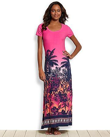 Tommy Bahama - Ombr� Palm T-Shirt Maxi Dress