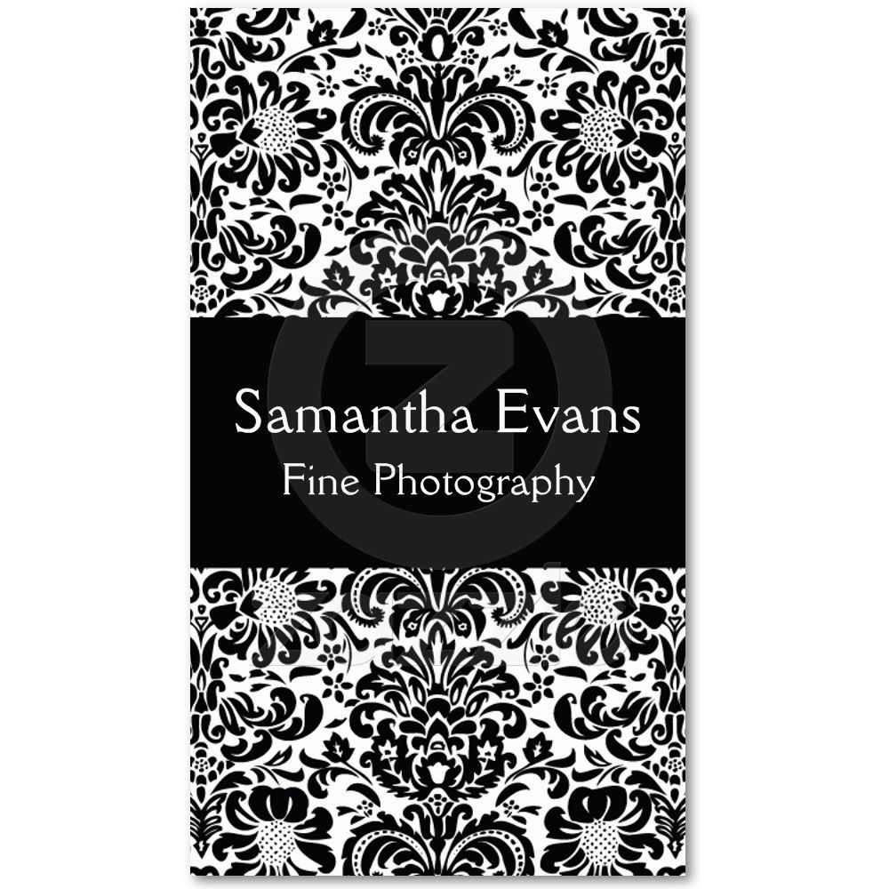 Black and white damask business card business cards beautiful black and white damask floral pattern very chic business card by humminbirdcake on zazzle reheart Gallery