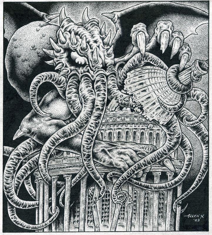 Cthulhu toma el Congreso, por Allen Koszowski.