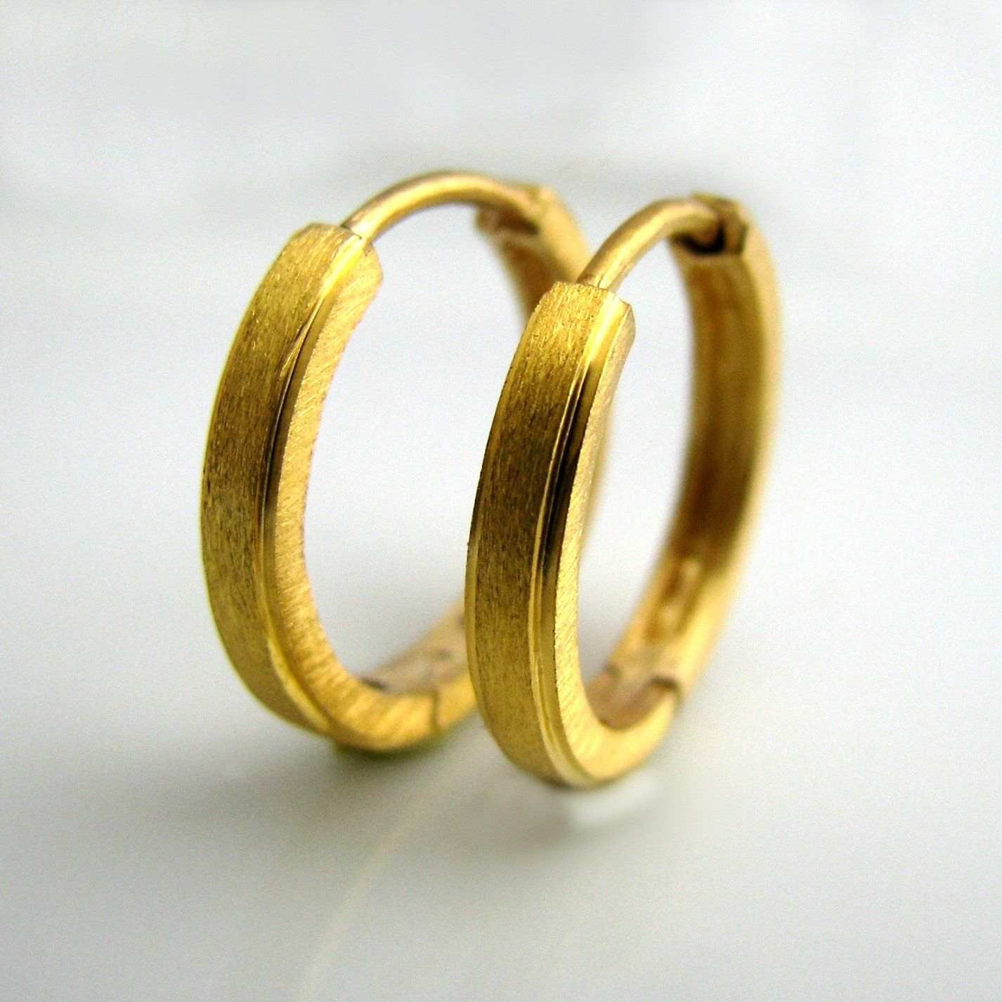 14k Gold Hoop Earrings For Men Mens Real E004my