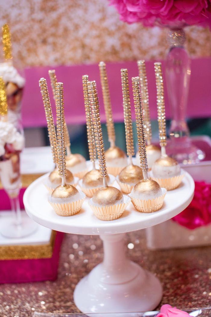 Glamorous Gold Cake Pops Pink 40th Birthday Party Via Karas Ideas