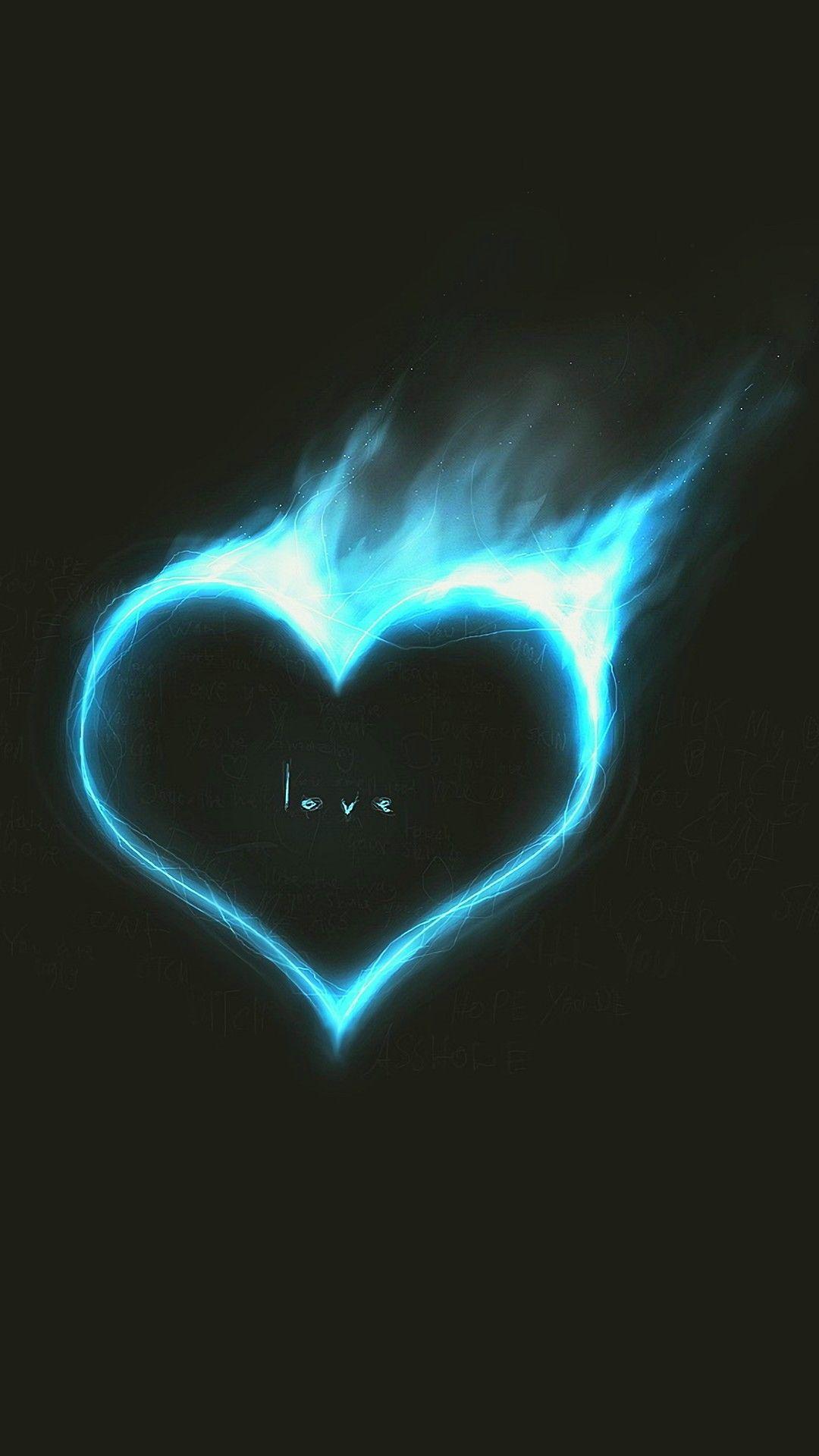 Blue Heart Cool Black LG V60 ThinQ 5G Power Saving HD Wallpapers