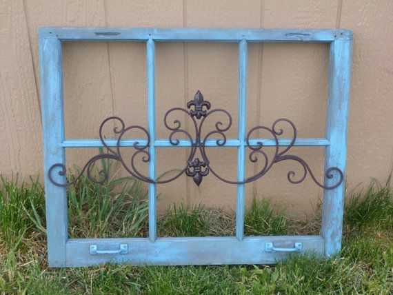 Made To Order Vintage Rustic Turquoise Wooden Window Frame Wall ...