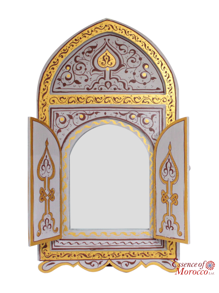 Moroccan Mirror Wood Bab Door Silver Gold Handmade Handpainted Limited Edition 4
