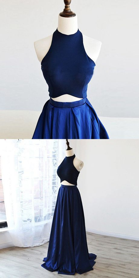 Simple Two Piece Prom Dress - Royal Blue Halter Sleeveless Pleated ...