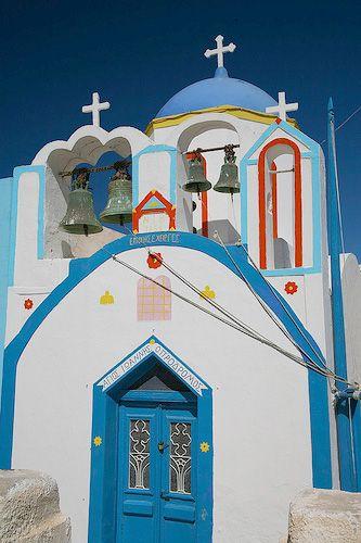 church at thirasia, the small island near santorini - greece