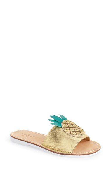 5ce6703c23b4 Flat. kate spade new york  ibis  slide sandal (Women) Golden Sandals