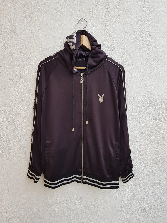7d88d0b1d12 Vintage 90s PLAYBOY Giant Rabbit Monogram Striped Logo Hoodies Jacket Size  4L