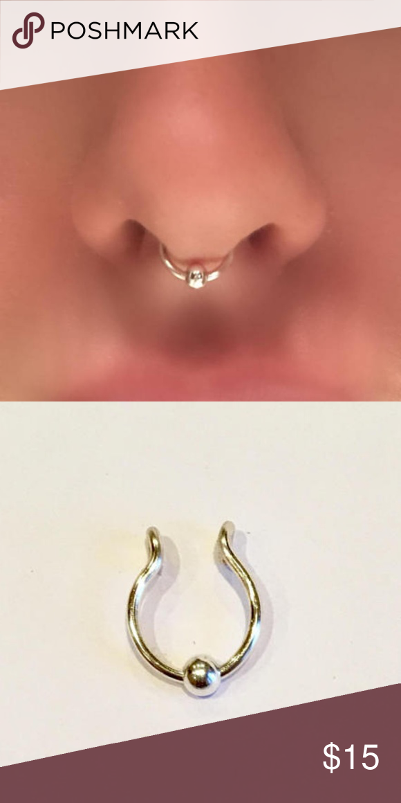Fake Faux Clip On Cheater Septum Ring Hoop Faux Nose Ring Septum Nose Rings Fake Nose Rings