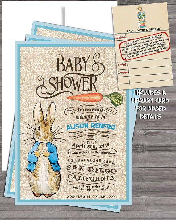 vintage peter rabbit beatrix potter baby shower or vintage nursery, Baby shower invitations