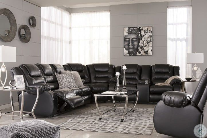Vacherie Black Double Reclining Sectional In 2020 Leather Couches Living Room Black Leather Couch Living Room Black Furniture Living Room